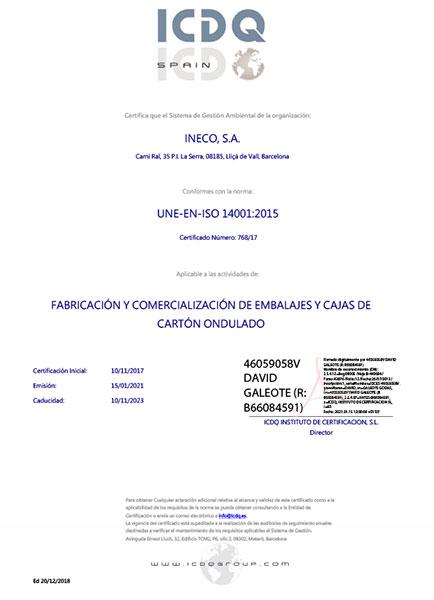 Certificado ISO 14001:2015 como fabricante de cajas de cartón