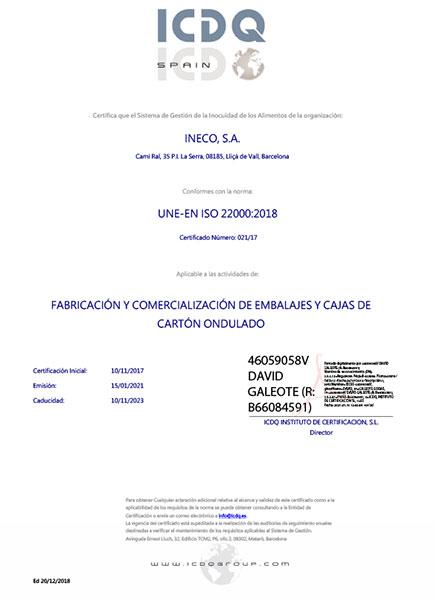 Certificado ISO 22000:2018 como fabricante de cajas de cartón