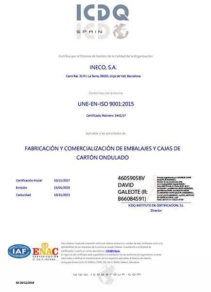 Certificado ISO 9001:2015 como fabricante de cajas de cartón